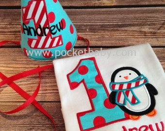 Personalized Penguin Birthday Shirt and Matching Party Hat - Winter Wonderland Birthday Shirt - Winter Onederland Party - by Pocketbrand