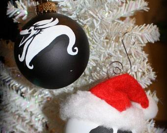 Nightmare before Christmas Inspired Jack Skellington or Zero Christmas Ornament
