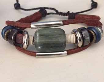 Three Strand Leather and Natural Stone Bracelet