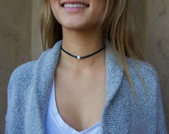 Black Leather Pearl Choker, Pearl Necklace, Genuine Freshwater Pearl, Choker Necklace, Boho Choker, Gift For Her