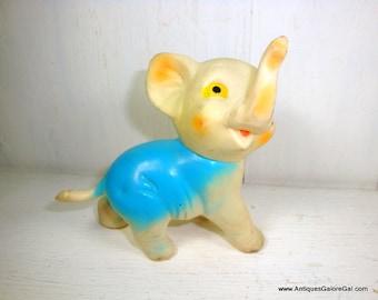 Vintage Sqeeze Toy Elephant, Mid Century Squeaky Rubber Baby Toy, Head Rotates, Dressed in Blue, Nursery Decor, Mid Century (846-15)