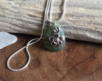 Green sea glass necklace, flower charm, seaglass pendant, jewellery jewelry, Celtic, Gift for Her, Silver plated chain, One of a kind [31]