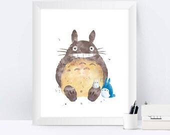 Totoro Watercolor Totoro Art Print Totoro Print Totoro Poster My Neighbor Totoro Miyazaki Hayao Anime Totoro Wall Art Gift
