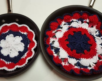 Pot Protectors/Hot Pads in Red-White and Blue