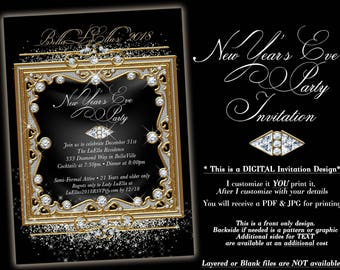 New Years Eve Party Invitation, Bling Party Invitation