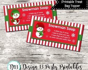 Girl Snowman Soup Christmas Treat Bag Topper Digital Printable INSTANT DOWNLOAD