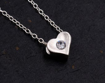 Sterling Silver Very Tiny Little Heart 3D Pendant Necklace with a Sparkly CZ Crystal 16'' - 18''  Y67