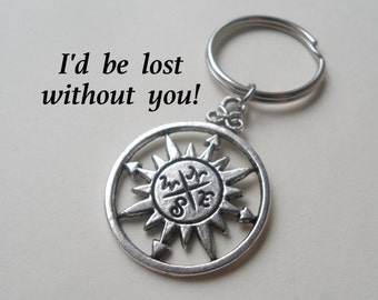 Compass Keychain or Necklace, Couples, Husband Wife, Girlfriend Boyfriend, Best Friend, I'd be lost without you, Initial Tag Option