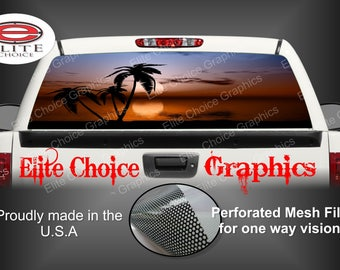 Tropical Sunset 1 Rear Window Graphic Tint Decal Sticker Truck SUV Van Car