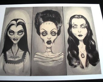 Lily Munster, Braut von Frankenstein, Morticia Addams Grußkarte!  Lori Gutierrez Art Unikat!