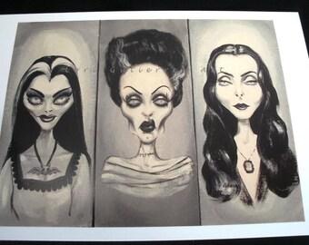 Lily Munster, Bride of Frankenstein, Morticia Addams Greeting Card!!  Lori Gutierrez Art OOAK!