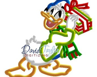 Donald with Christmas Gift - Embroidery Machine Design - Applique - Instant Download - David Taylor Digitizing