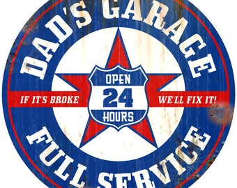 Dads Garage Wall Decal Rusted Blue Red #45826