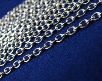 Silver Chain : Antique Silver Oval Link Chain 4x3mm ... SOLD per 16 FEET / 5 Meters ... Lead, Nickel & Cadmium Free 70033
