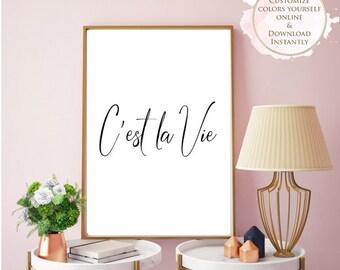 Printable wall art, Cest La Vie, Printable Quote, Wall Art Prints, Printable Art, Home decor, Printable Gift, Inspirational Art, Prints.