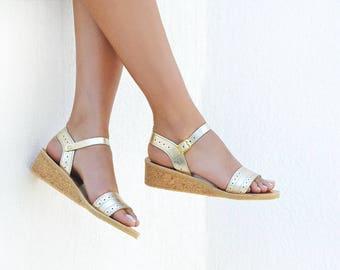 Wedding sandals, Wedges, Sandals, Wedges wedding shoes, Leather sandals, Leather sandals women, Greek sandals, Gold sandals, ZOE Wedges