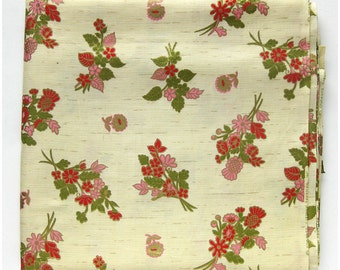 Beautiful Vintage FABRIC - Floral Fine Cotton - Metallic GOLD - Red and  Pink Bouquets - Schwartz Liebmann