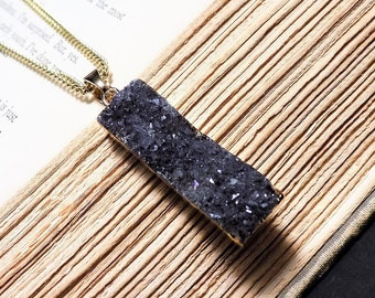 Gold and Charcoal Druzy Pendant