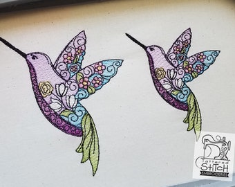 """Stained Glass Hummingbird- Machine Embroidery Design. 4 x 4 & 5 x 7"""" hoop. Instant Download. Water color style stitching."""