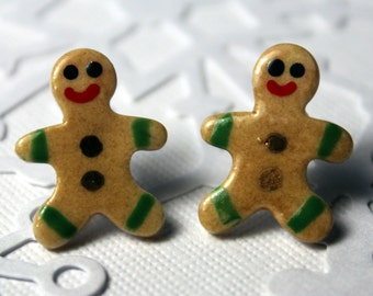 Mini Gingerbread Boy Christmas Earrings Handmade Porcelain Ceramic Jewelry