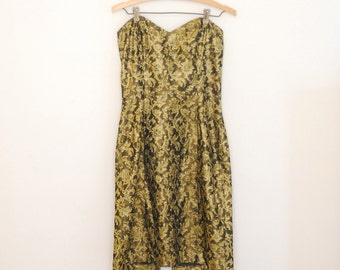 Black and Gold Floral Brocade Sweetheart Neckline Mini-Dress - Early 90s