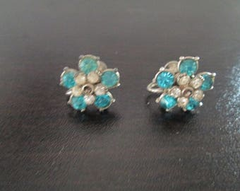1920's Art Nouveau style silver flower screw back earrings with baby blue and crystal accents