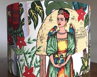 Handmade Frida Kahlo lampshade Frida Lampshade lamp shade Coasters drum lampshade gift for artist Frida Kahlo gift Frida's Garden Feminist