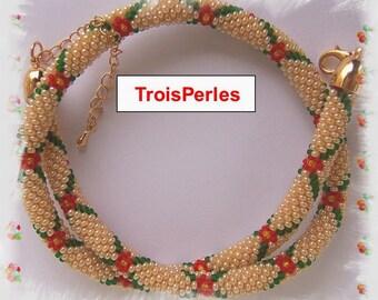 74 - Beaded Crochet Necklace - Kette - Perlenkette - Häkelkette