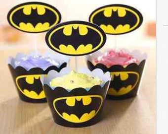 12 Batman Cupcake Wrapper and Topper Birthday Party Cake Supplies Party Decoration