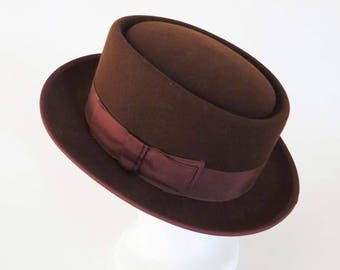 "Brown SCALA ""Classico"" JAZZ Hat - Pork Pie - Fedora Hat by Dorfman Pacific / Hand-Made in the United States / Christmas-Birthday Gift"