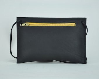 Black Oil Tanned Leather Pouch with Yellow Zipper