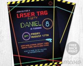 Free laser tag invitation template ukranochi laser tag invitations ticket birthday party lets glow free filmwisefo
