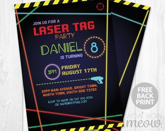 Lets glow invitations dark party invite birthday any age laser tag invitations birthday party any age lets glow dark instant download lazer quest invite neon filmwisefo Images