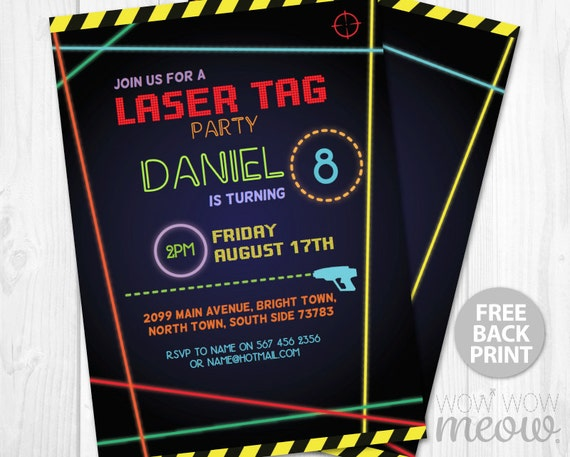 This is a graphic of Clean Laser Tag Birthday Invitations Free Printable