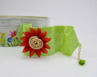 Good Golly Miss Molly / Custom Designer Cuff Bracelet with Japanese Seed Beads and Peridot Gemstone