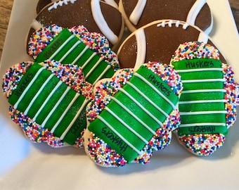 Football Custom Sugar Cookies ~ 1 Dozen  (12) Sports Themed Cookies ~ College and NFL Cookies