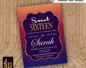Sweet 16 Birthday Invitation- Arabian Nights Themed , Moroccan Themed Invitation, Gold Pink Purple , DIY Invitation