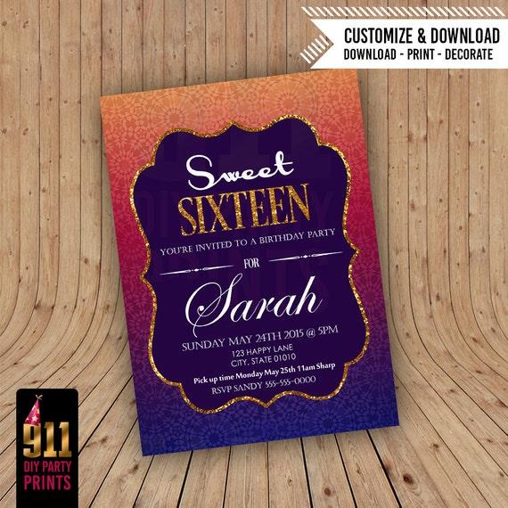 Sweet 16 Birthday Invitation Arabian Nights Themed Moroccan