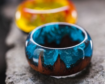 Wood resin ring Wooden rings Eco epoxy jewelry Green Wood ring the secret of magical world in a tiny landscape resin wood ring dark souls
