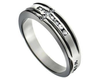 "CZ Cross Ring ""Woman Of God"""