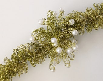 Wire Crochet Necklace, Spring Grass with Pearls