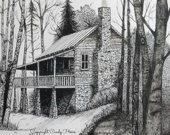 Log cabin print, country, cabin, landscape, mountain cabin, pen and ink, stone chimney, old cabin