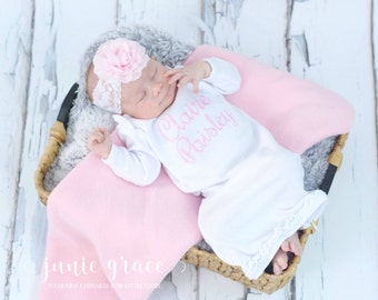 Baby Girl Clothes  Baby Girl Coming Home Outfit Baby Girl Gift Baby Girl Outfit Newborn Baby Girl Outfit Baby Girl Gown Personalized Gift