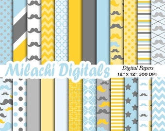 60% OFF SALE Mustache digital paper, little man scrapbook papers, boy baby shower wallpaper, father's day background - M378