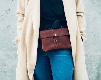 classic button stud leather hip bag + satchel in brown // leather fanny pack // solid brass // worn as hip bag, shoulder and cross-body