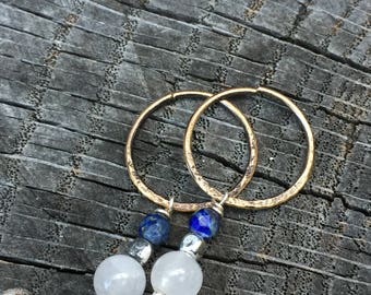 Rustic Gold Bronze Continuous Hoop Earrings w/ Lapis Lazuli, Quartz & Sterling Silver Drops - Simple Everyday Wear Artisan Jewelry
