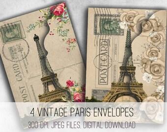 Vintage Paris Envelopes Digital Collage Sheet Download - 1032 - Digital Paper - Instant Download Printables