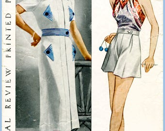 30s 1930s repro vintage women's sewing pattern blouse playsuit shorts beach romper bust 32 b32 Pictorial Review 8573 reproduction
