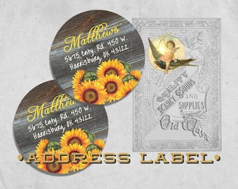 Rustic Sunflower Return Address Labels - Printed Personalized Labels - 2 inch Round Sunflower Stickers - Adhesive Sunflower Labels