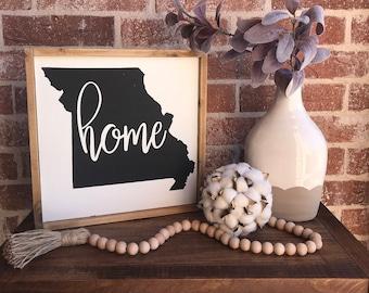 Missouri Home 12x12 - Wood Sign- Farmhouse decor, gift idea, house warming